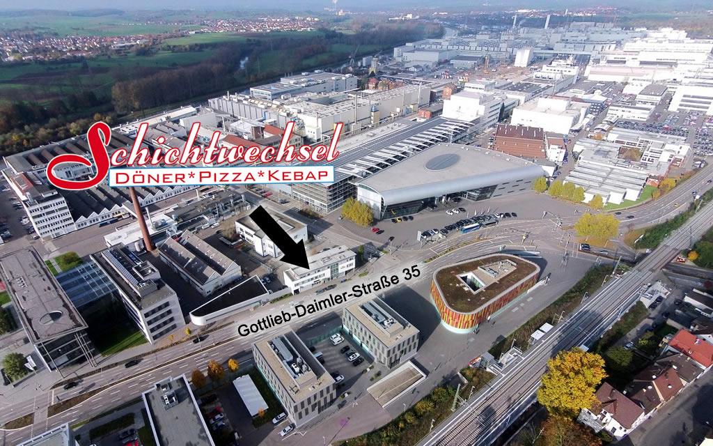 Luftaufnahme vom Schichtwechsel in Neckarsulm